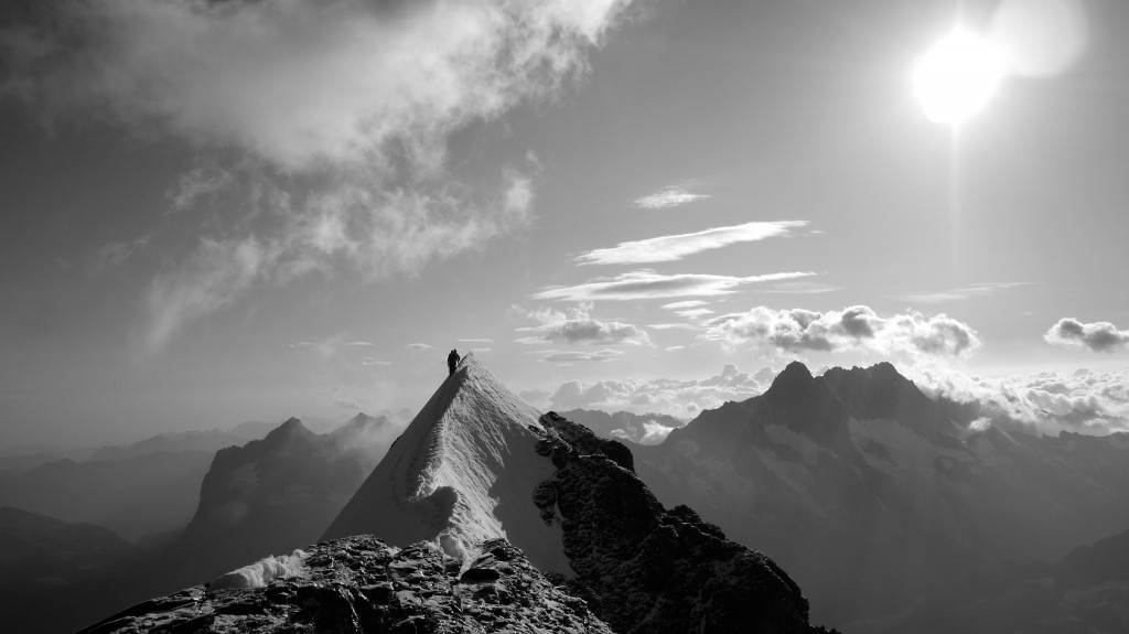 Climbers high on the eiger.