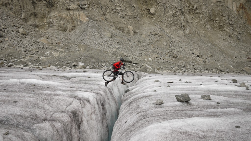 Jumping a crevasse with a mountain bike